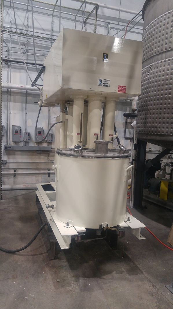 Used Charles Ross & Sons 100 gallon 304 SS Tri-shaft vacuum mixer