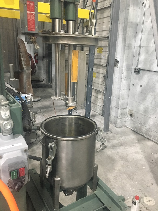 Used Myers 3 gallon 304 stainless steel dual shaft, dual motor mixer.