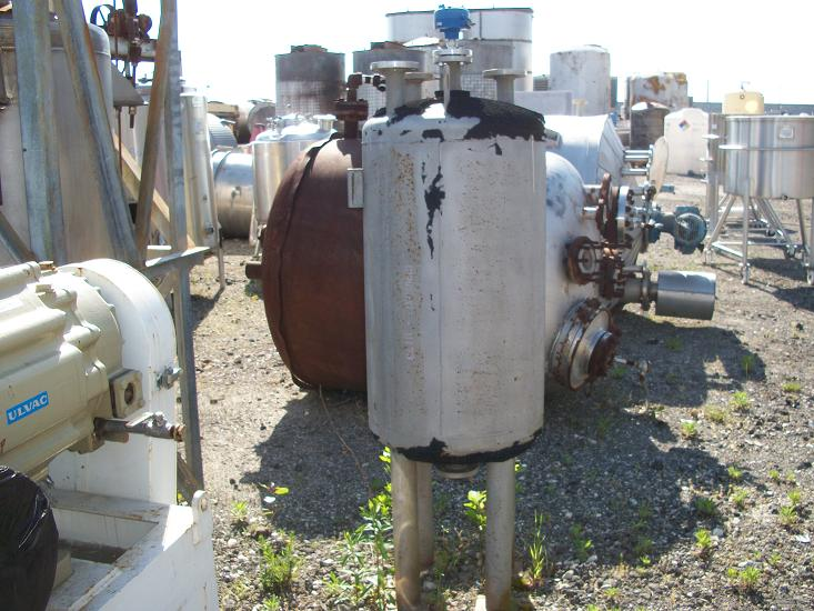 Used Evans & Sons approx 75 gallon vertical T-316L S/S vacuum tank
