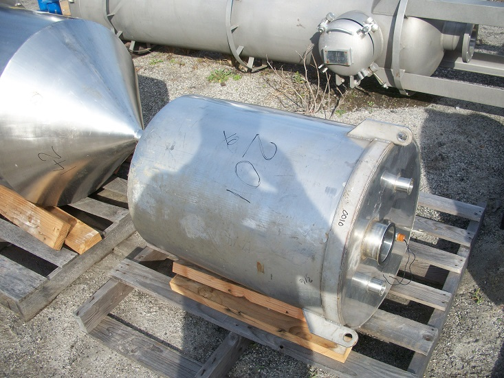 Used approximately 50 gallon vertical 316L stainless steel tank