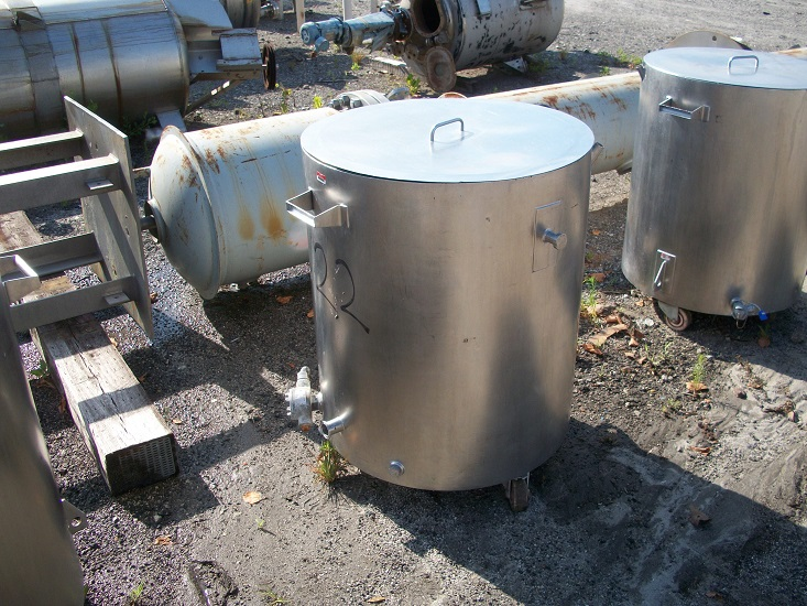 Used approximately 60 gallon jacketed 304 S/S portable tank.