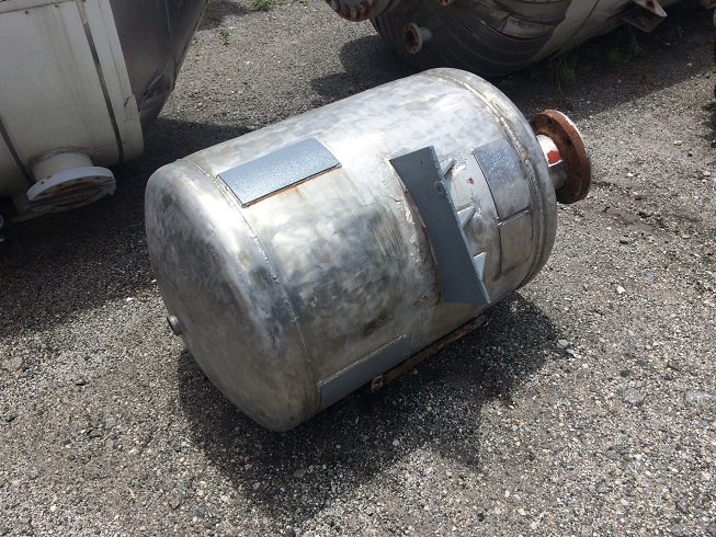 Used approximately 85 gallon stainless steel vertical pressure tank