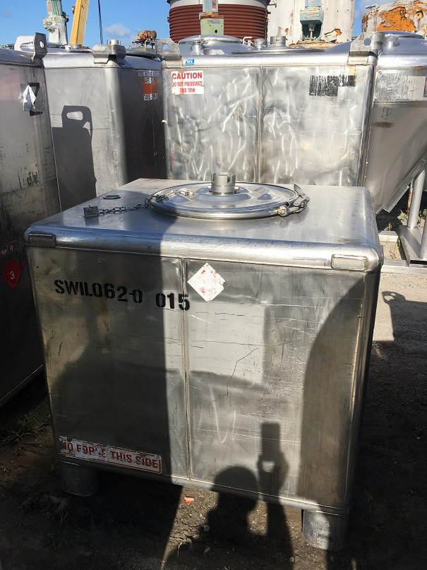 Used Hoover Group Inc 350 gallon 304 stainless steel tote