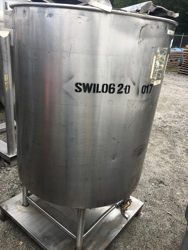 Used approximately 250 gallon 304 S/S vertical tank
