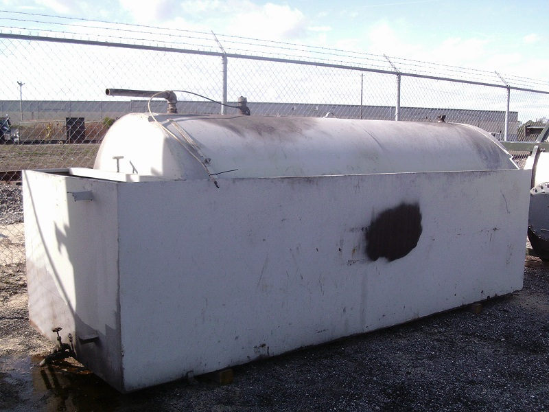 Used approximately 1800 gallon carbon steel horizontal storage tank
