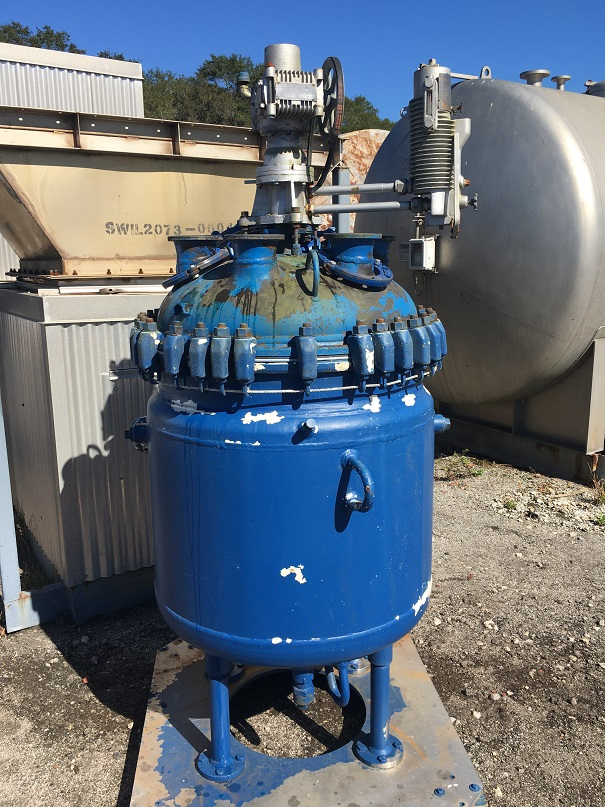 Used Pfaudler 100 gallon glass-lined reactor.